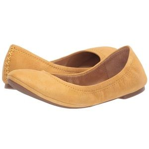 NWOT Lucky Brand suede flats. Mustard yellow color